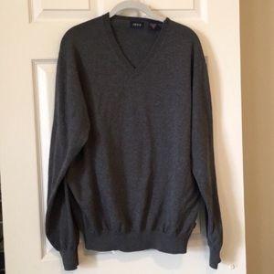 IZOD V-Neck 100% Cotton Sweater Men's Dark Gray